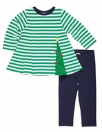 Florence Eiseman Girls Green Striped Christmas Tree Top with Navy Blue Leggings