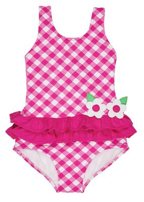 Florence Eiseman Girls Hot Pink Check Ruffle Swimsuit with Flowers