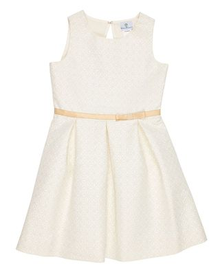 Florence Eiseman Girls Ivory Gold Jacquard Holiday Party Dress