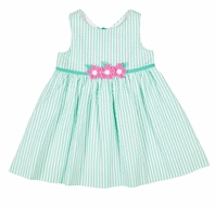 Florence Eiseman Girls Jade Green Seersucker Sun Dress - Pink Flowers