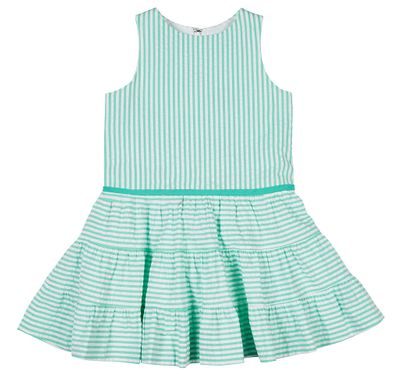 Florence Eiseman Girls Jade Green Seersucker Tiered Dress