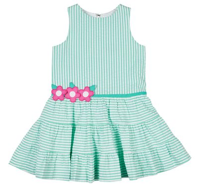 Florence Eiseman Girls Jade Green Seersucker Tiered Dress with Flowers