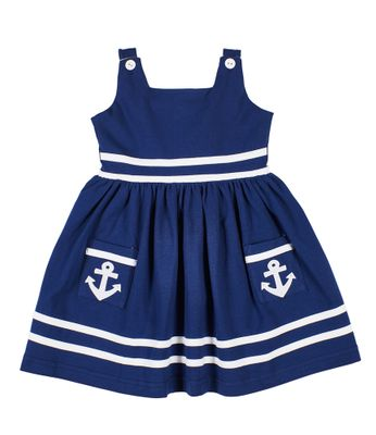 Florence Eiseman Girls Navy Blue Knit Nautical Dress - Anchors on Pockets