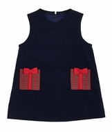 Florence Eiseman Girls Navy Blue Corduroy Jumper Dress - Christmas Present Pockets