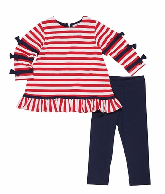 Florence Eiseman Girls Navy Blue Leggings - Red Striped Tunic Top with Bows
