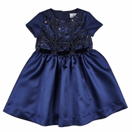 Florence Eiseman Girls Navy Blue Satin Party Dress with Sequin Lace Overlay