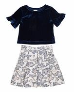 Florence Eiseman Girls Navy Blue Stretch Velvet Top with Gold Brocade Skirt