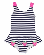 Florence Eiseman Girls Navy Blue Stripe / Pink Strawberry Ruffle Swimsuit