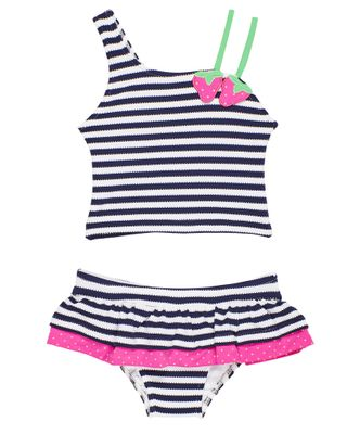 Florence Eiseman Girls Navy Blue Stripe / Pink Strawberry Tankini Swimsuit
