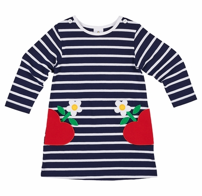 Florence Eiseman Girls Navy Blue Striped Pique Dress - Heart Pockets