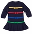 Florence Eiseman Girls Navy Blue Sweater Knit Dress with Rainbow Bows
