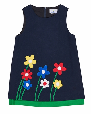 Florence Eiseman Girls Navy Blue Twill Jumper Dress with Flowers