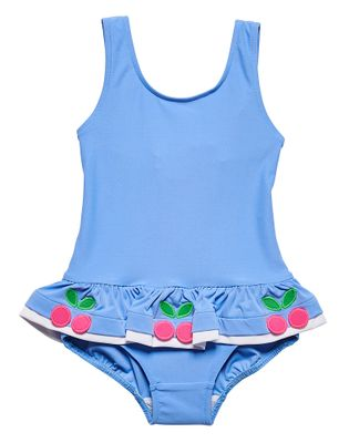 Florence Eiseman Girls Periwinkle Blue Ruffle Swimsuit - Cherries