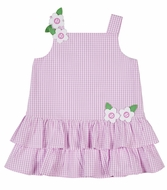 Florence Eiseman Girls Pink Check Seersucker Double Ruffle Dress