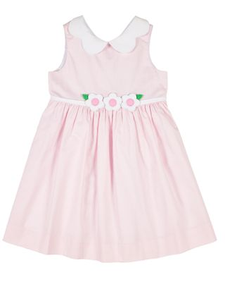 Florence Eiseman Girls Pink Check Sleeveless Dress with Flowers