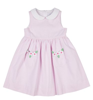 Florence Eiseman Girls Pink Raised Stripe Sleeveless Dress - Flower Pockets