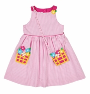 Florence Eiseman Girls Pink Seersucker Dress with Flower Basket Pocket and Purse