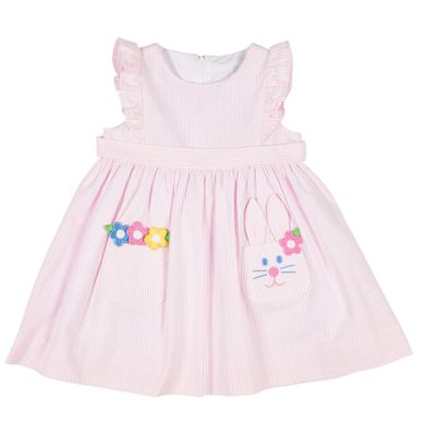 Florence Eiseman Girls Pink Seersucker Easter Bunny Pocket Dress