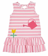 Florence Eiseman Girls Pink Stripe Knit Dress with Flower Watering Can
