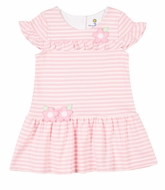Florence Eiseman Girls Pink Stripe Knit Dress with Flowers