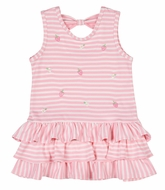 Florence Eiseman Girls Pink Stripe Knit Ruffle Embroidered Strawberry Dress - Bow on Back