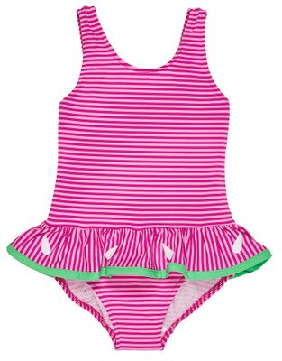 Florence Eiseman Girls Pink Stripe Ruffle Swimsuit - Watermelon