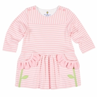 Florence Eiseman Girls Pink Striped Knit Dress - Petal Pockets