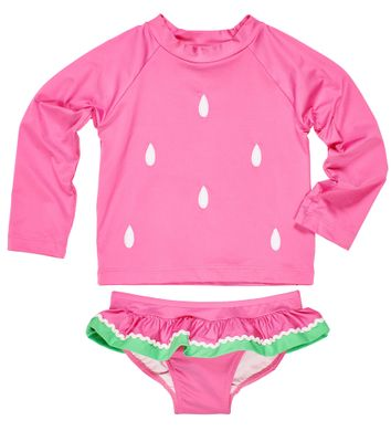 Florence Eiseman Girls Pink Watermelon Seeds Ruffle Rash Guard Swimsuit - Two Piece