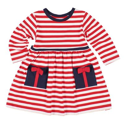 Florence Eiseman Girls Red Candy Cane Striped Knit Dress - Present Pockets