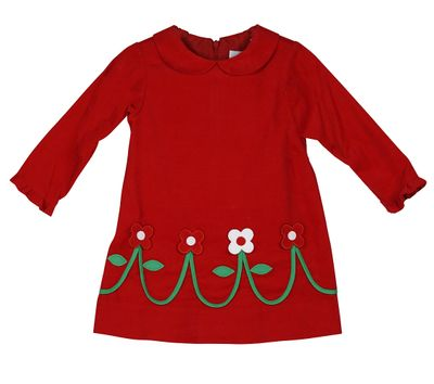 Florence Eiseman Girls Red Corduroy Christmas Dress with Flowers