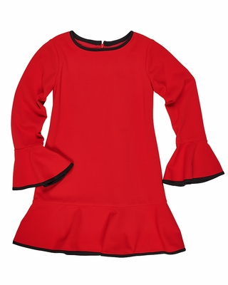 Florence Eiseman Girls Red Crepe Scuba Knit Dress - Bell Sleeves