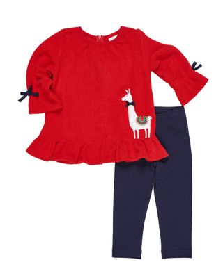 Florence Eiseman Girls Red Fleece Llama Top with Navy Blue Leggings