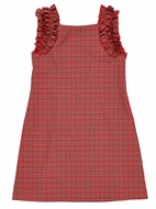 Florence Eiseman Girls Red Holiday Plaid Dress - Ruffle Shoulders