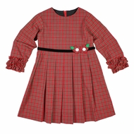 Florence Eiseman Girls Red Holiday Plaid Dress - Velvet Trim