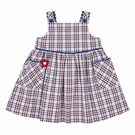 Florence Eiseman Girls Red / Navy Blue Plaid Dress with Pockets