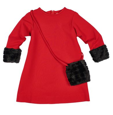 Florence Eiseman Girls Red Ponte Christmas Dress - Faux Fur Cuffs and Purse