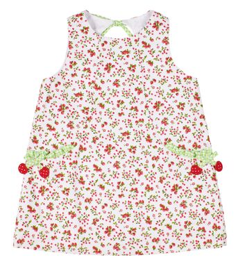 Florence Eiseman Girls Red Strawberry / Cherry Print Pique Dress
