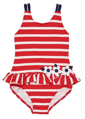 Florence Eiseman Girls Red Striped Ruffle Bathing Suit - Navy Blue Trim Flowers