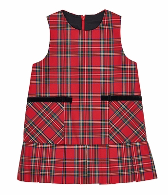 Florence Eiseman Girls Red Tartain Plaid Jumper Dress - Velvet Bows on Pockets