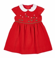 Florence Eiseman Girls Red Velvet Christmas Dress - Flower Bodice