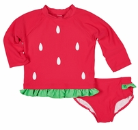 Florence Eiseman Girls Red Watermelon Rash Guard Bathing Suit
