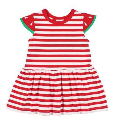 Florence Eiseman Girls Red / White Stripe Knit Dress - Watermelon Sleeves