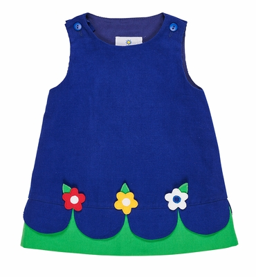 Florence Eiseman Girls Royal Blue Corduroy Jumper Dress - Scallop Flowers