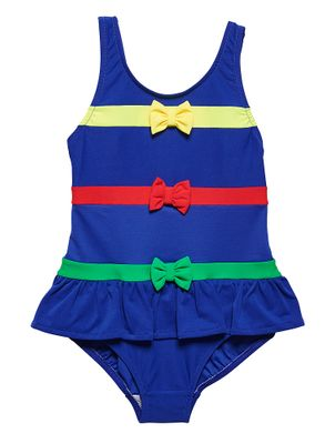 Florence Eiseman Girls Royal Blue Ruffle Swimsuit - Primary Color Bow Bands