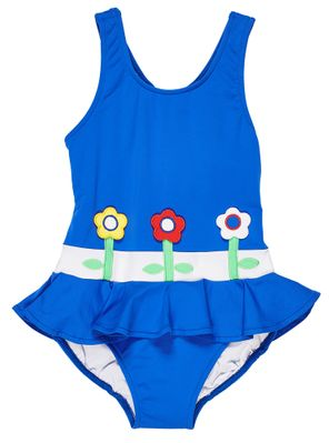 Florence Eiseman Girls Royal Blue Ruffle Swimsuit with Flowers