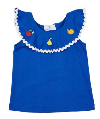 Florence Eiseman Girls Royal Blue Ruffle Top - Fruit Embroidery