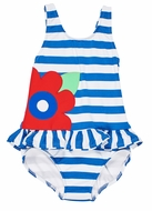 Florence Eiseman Girls Royal Blue Stripe Ruffle Swimsuit with Big Red Flower