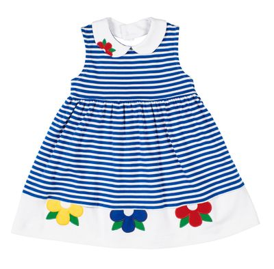 Florence Eiseman Girls Royal Blue Stripe Knit Dress with Flowers