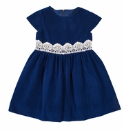 Florence Eiseman Girls Royal Blue Velvet Dress - Lace Trim at Waist