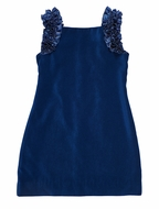 Florence Eiseman Girls Royal Blue Velvet Dress - Taffeta Ruffles